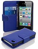Cadorabo Hülle für Apple iPhone 4/ iPhone 4S Hülle in KÖNIGS blau Handyhülle mit Kartenfach aus Struktriertem Kunstleder Case Cover Schutzhülle Etui Tasche Book Klapp Style Königs-Blau
