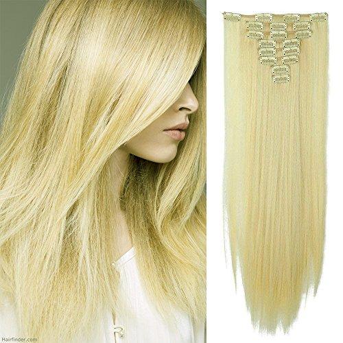 Extension clip capelli veri lisci lunghi [biondo pallido] 8 fasce sintetiche con 18 clip in estensioni 26