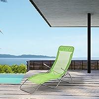 [casa.pro]® Tumbona plegable - Silla para playa - 190 x 60 x 98 cm - Respaldo ajustable - Verde