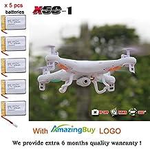 X-UAVs TM - Syma X5C-1 2.4Ghz 6-Axis Gyro RC Quadcopter Drone UAV RTF UFO con HD 2.0 MP Cámara - Versión más reciente X5C-1 - 4 Propulsores adicionales + 4 GB Tarjeta de memoria + lector de tarjetas + Total 5 Baterías + 4 en 1 Cargador de batería + Número de seguimiento