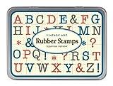 Cavallini Mini Uppercase Alfabeto 30 sellos de goma de madera surtidos empaquetados en una lata