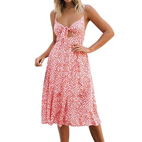 Msliy Damen Vintage Kleider Sommerkleid Bauchfrei Ärmellos Knielang Trägerkleid Partykleid Schleife Rückenfrei Zweiteiliges Abendkleid Mode Sexy Sommer Large Orangerot
