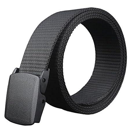 Tonsee® Wild-Men-Toile-Belt-Hypoallergénique-métal-plastique-libres automatique-Buckle (Noir)