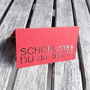 Tischkarten Schön dass DU da bist 10 Stück Tischdeko Platzkarte Namenskarte Weihnachtsdeko Hochzeitsdeko Firmenfeier von AniPolDesign aus Hamburg