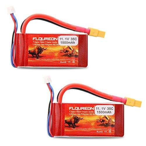 Floureon® RC Batterie 3S 11.1V 1500mAh 35C LiPo Batterie avec connecteur XT60pour RC Voiture, RC Camion, RC Avion, RC hélicoptères, RC Bateau, Mini hélicoptère, Quadcopter, FPV 2X