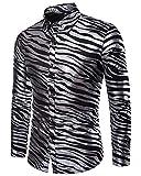 Mengmiao Herren Modelle Zebra Streifen Druck Langarm Revers Hemd Schwarz XL