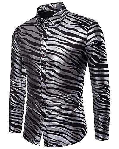 Mengmiao Herren Modelle Zebra Streifen Druck Langarm Revers -