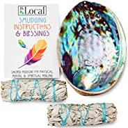 JL Local Origins Smudging Kit - 2 White Sage Smudge Stick + Abalone Shell Bowl | Sustainably Sourced Healing I