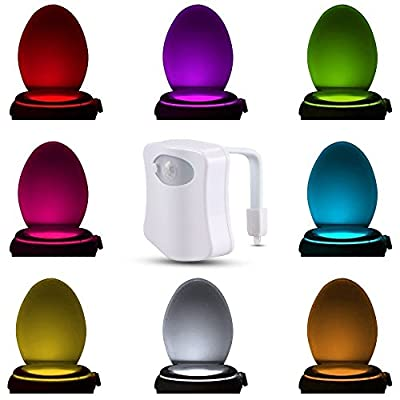 Comwinn Toilet Night Light, LED Sensor Motion Activated Toilet Light Battery-Operated,8 Colors Changing Night Light Toilet Bowl Light - cheap UK light store.