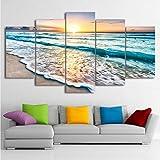 jecswolz Leinwand Malerei Modulare Wandkunst5 Stücke Sunset Beach Sea Wave Poster Wohnzimmer Gedruckt Seascape Bilder Home Decor Kein Rahmen