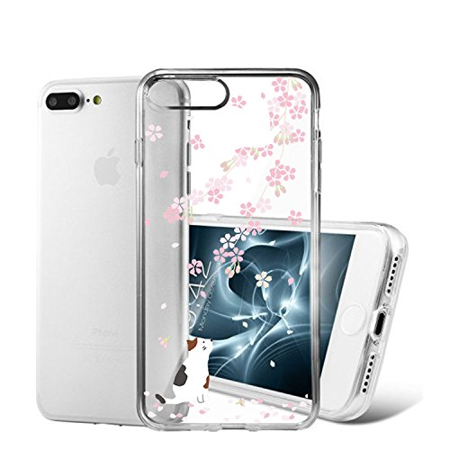 Qissy® TPU Cover iPhone 7 Plus 5,5 pollici Case marche popolari Anti-scratch Gel Silicone Custodia Cherry plum 11