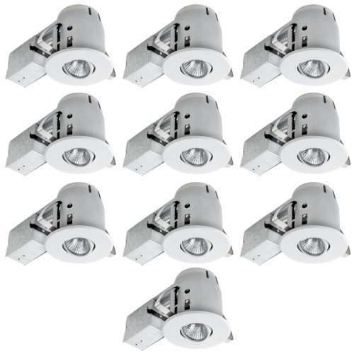 Downlight-kit (90540 4 inch Swivel Spotlight Recessed Lighting Kit Dimmable Downlight, White Finish, Contractor's (10-Pack), Easy Install Push-N-Click Clips by Globe Electric)