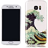 Housse Etui Galaxy S7 Edge,RUIST Glitter Souple Transparente TPU Protection Etui Coque Anti Choc Bumper Housse Silicone Gel Ultra Mince Anti Dérapant Flexible Soft Cover Case Cas pour Samsung Galaxy S7 Edge - Waves