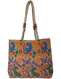 Shubhangi Women's Shoulder Bag (Jaipuri Embroidered Handicraft Traditional Shoulder Bag,Multi-Coloured, Silk,R3...