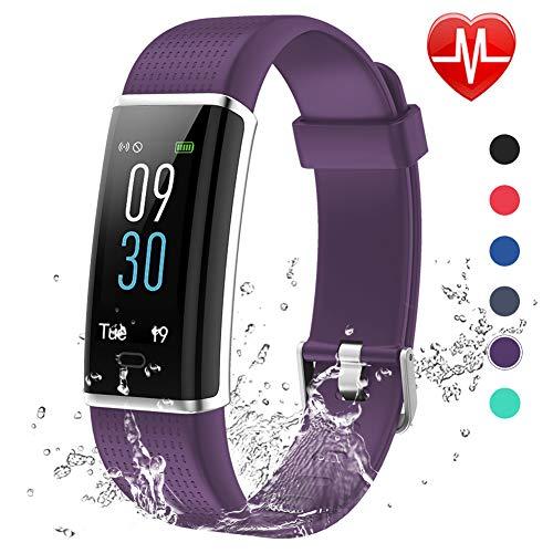 Lintelek Fitness Armband,Fitness Tracker mit Pulsmesser 0,96 Zoll Farbdisplay Fitness Uhr Armband Uhr Schlafmonitor Aktivitätstracker 14 Trainingsmodi Vibrationsalarm GPS (Violett) MEHRWEG
