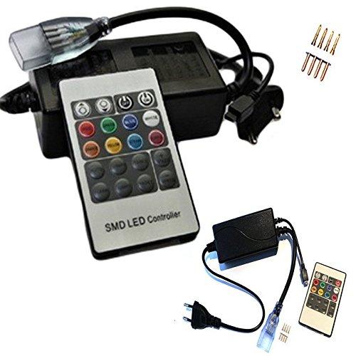 Takestop® - Minicentral, controlador, con mando a distancia, para bobina, tira LED RGB de 220V, regulador de la intensidad de la luz