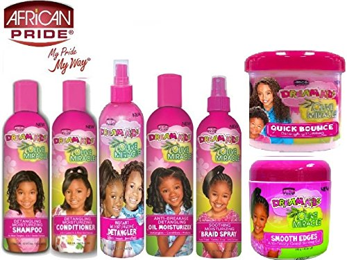 African Pride Dream Kids ULTIMATE BUNDLE 7pcs Set (Detangling Shampoo, Anti-Reversion Conditioner, Oil Moisturizer, Braid Spray, Smooth Edges, Quick Bounce Pudding, and Moisturizing Detangler) by African Pride