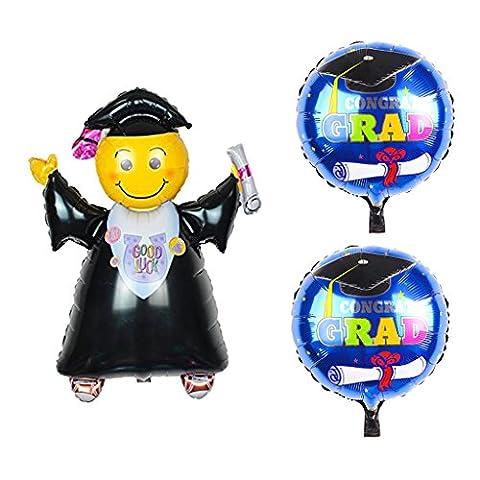 Gazechimp 3pcs Ballon Aluminium Rond et Ballon Etudiant Fourniture Décoration