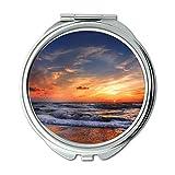 Yanteng Spiegel, Schminkspiegel, Blauer Himmel des Strandes bewölkt Sich, Taschen-Spiegel, beweglicher Spiegel