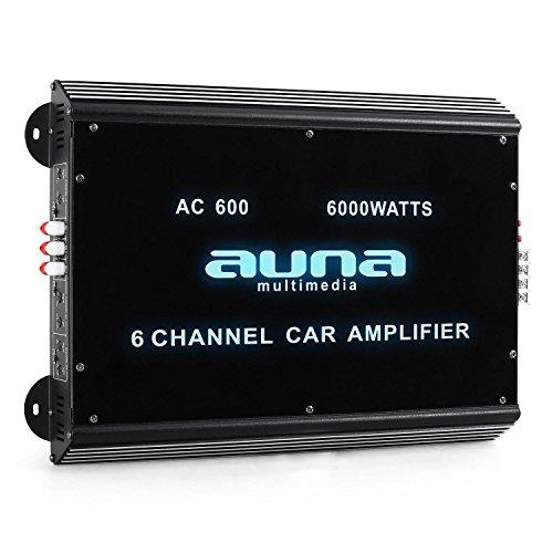 auna W2-AC600 • 6-Kanal Auto-Endstufe • Amplifier • Car HiFi Verstärker • 6000W max. • Tiefpass-Filter • 20 Hz-20 kHz Frequenzbereich • LED-Lichteffekt • brückbar • 6/5/4/3/2/1-Kanal Betrieb • schwarz 6 Kanal
