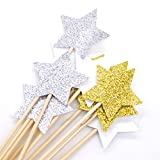 PuTwo Cake Decorations 20 Counts Star Cake Decorating Cake Toppers Sticks - Mixed