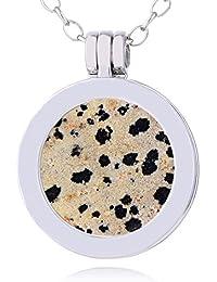 5fa66bb0325c Morella mujeres collar 70 cm acero inoxidable y colgante con SMALL Coin  moneda amuleto de piedra