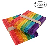 "DIY 100pcs 6"" Wooden Craft Sticks Wooden Lollipop Sticks Smooth Popsicle Art Stick Perfect for DIY Art Crafts"