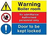 Viking Schilder cv5467-a3l-1m Achtung Boiler Zimmer Gesperrt, kein Zutritt, Tür Schild, 1mm Kunststoff halbstarr, 400mm H x 300mm W