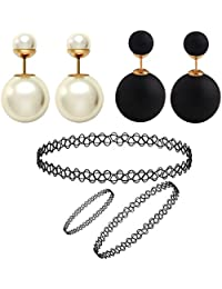 Jewels Galaxy Black & White Gold-Plated Stud Earrings Combo With Necklace, Bracelet And Ring For Women