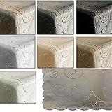 JEMIDI Tischdecke Ornamente Seidenglanz Edel Tisch Decke Tafeldecke 31 Größen und 7 Farben Creme Oval 130x220 - 3