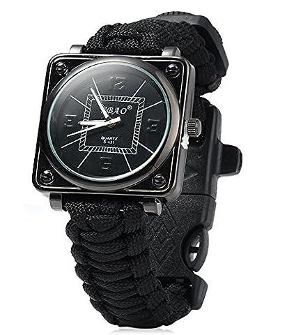 ZENDY Paracord corde carré montres bracelet avec grattoir firestarter inoxydable et un sifflet et une boussole multifonctions outils de survie en plein air (Noir)