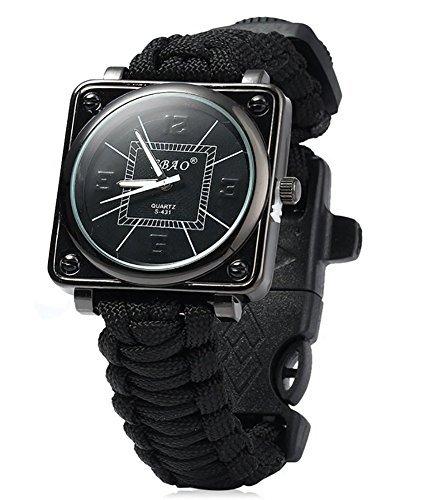 ZENDY Paracord Seil Quadrat Uhren Armband mit Zündstein rostfreiem Schaber und Pfeife und Kompass Multifunktions -Outdoor-Survival-Tools (Schwarz)