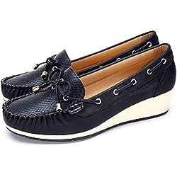 Zapatos Planos Comodos Náuticos Mujer, la Mejor Opción para caminar y Usar, Mocasín Cuero de Imitación para Mujer, Zapatos cuña Casuales, Adecuados para Todas Las Estaciones F041-BLACK-36