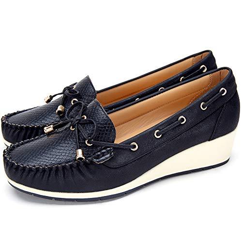 Zapatos Planos Comodos Náuticos Mujer - Mocasín Cuero de Imitación para Mujer, la Mejor Opción para Caminar y Usar, Zapatos cuña Casuales, Adecuados para Todas Las Estaciones F041-BLACK-36