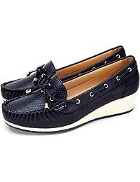 6ac332d9 Zapatos Cuña Comodos Náuticos Mujer - Mocasín Cuero de Imitación para Mujer,  la Mejor Opción