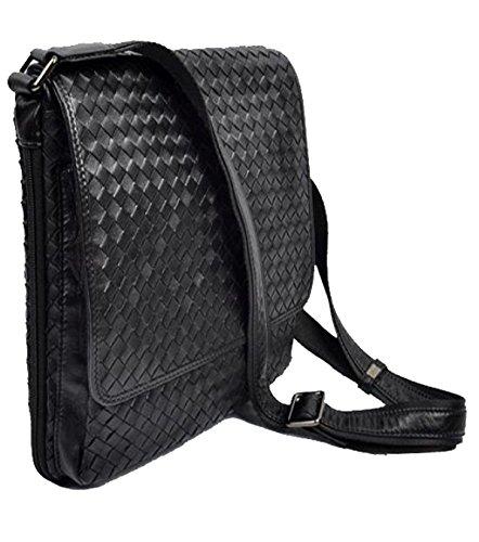 Yy.f Männer Tasche Ledertaschen Gewebte Umhängetasche Handgemachte Beiläufige Beutel Clamshell-Stil Schultertasche Sternmodelle Beutel Farbe 2 Verkaufen Black