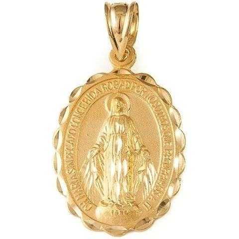 Medaglia ovale della 18kt oro miracolosa Vergine - Miracolosa Vergine