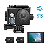 WiMiUS Q6 Action Cam 4K 16MP HD Actioncam 40M Unterwasserkamera Wifi 1080P Action Kamera mit 2 Akkus (Schwarz)