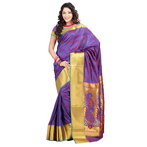 Varkala Nandani Silk Peacock Theme Pallu and Resham Butta Saree, Colour-Royal Blue-JP7101RBRD