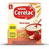 Nestlé CERELAC Fortified Baby Cereal with Milk, Wheat Apple – From 6 Months, 300g BIB Pack