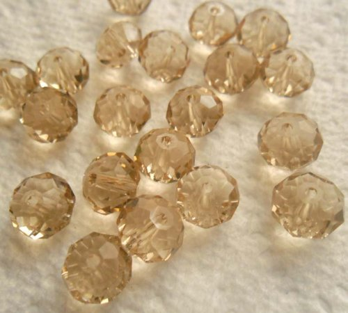 Beading Station 30-Piece Handmade Faceted Crystal Rondelle Beads, 6 by 8mm, Light Peach by Beading Station
