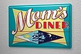 Blechschild Essen Restaurant Deko Mom's Diner Tag und Nacht geöffnet Metallschild 20X30 cm