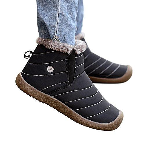 SANMIO Damen Schneestiefel, Winter Outdoor Waterproof Schneestiefel, Winterschuhe Warm Boots Stiefelette damenschuhe gefüttert Schwarz