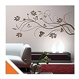 Exklusivpro Wandtattoo Blumenranke mit Schmetterlinge und SWAROVSKI (floral01g hellrotorange) 150cm | 37 Farben & 3 Größen
