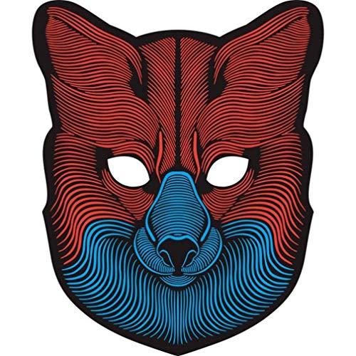 Prevently Sprachsteuerung LED Leuchtende Maske Halloween Horror Maske Halloween Maske Sound Reaktiv Full Face LED Leuchten Maske Dance Rave EDM Plur Party (Colour B)