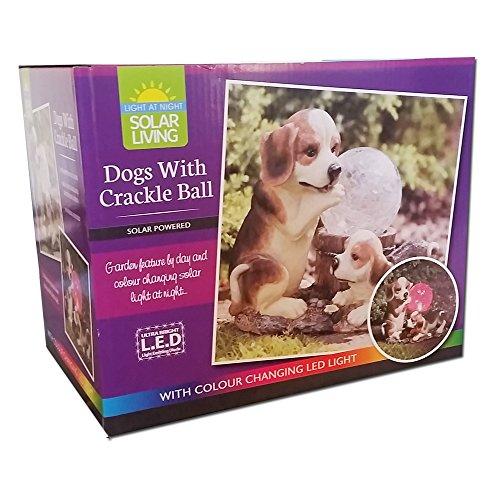 Solar Light Beagle Dogs With Crackle Ball Led Garden Light Statue