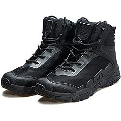 Botas de escalada para hombre de Free soldier, de media caña, con cordones, duraderas y transpirables, negro, UK9