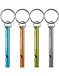 Sifflets de Signalisation en Aluminium, FineGood Lot de 4 Sifflets de Survie D'urgence avec Porte-clés pour Sport Arbitre Randonnée Camping Escalade
