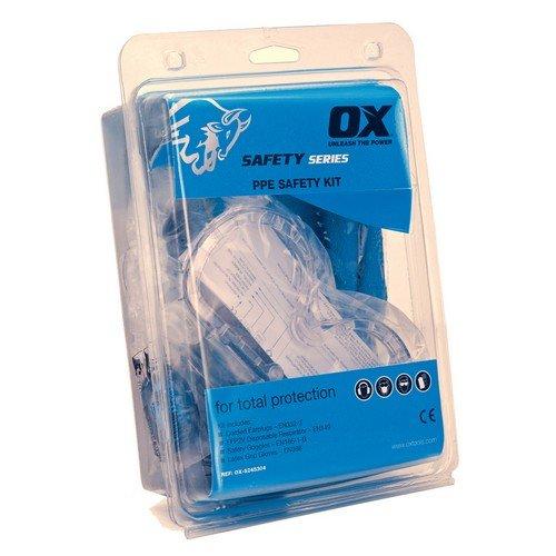 OX ox-s245305dpi sicurezza kit- 1x maschere FFP2, tappi per orecchie, sicurezza grip guanti, occhiali, in sacchetto, 0V, blu