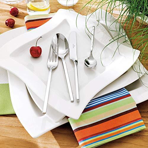 Villeroy & Boch NewWave Dinnerset / quadratische Suppenteller und Speiseteller in geschwungener Form aus edlem Porzellan / 1 x Set (8-teilig) - 4